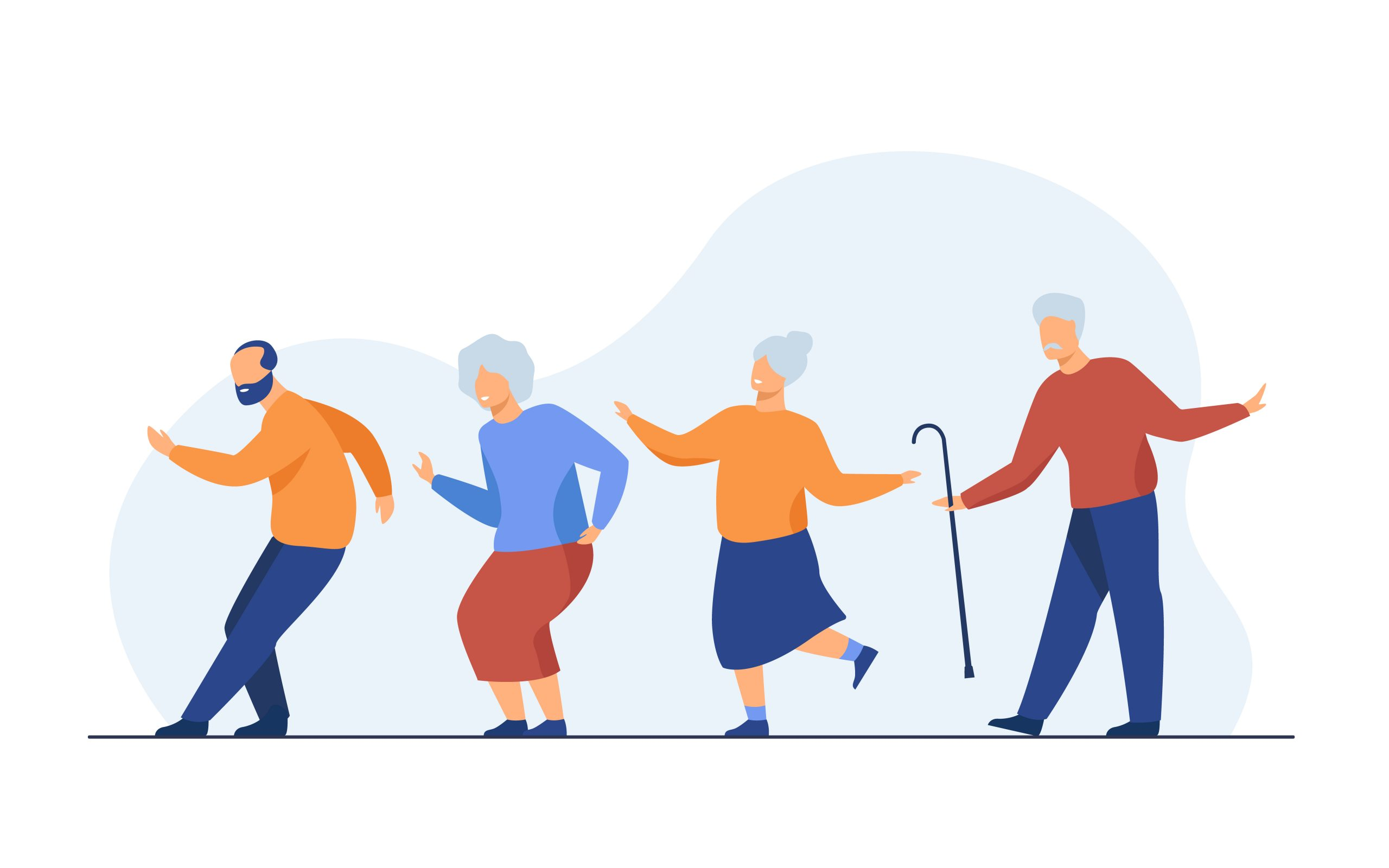 Happy senior people dancing at party. Cartoon grey haired old men and women enjoying music in club, having fun . Vector illustration for age, hobby, joy, retirement concept